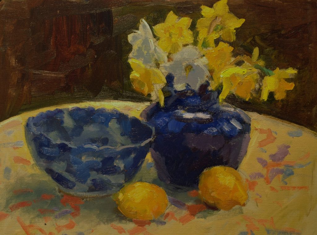 Daffodils on Round Table, Oil on Canvas on Panel, 12 x 16 Inches, by Susan Grisell, $325