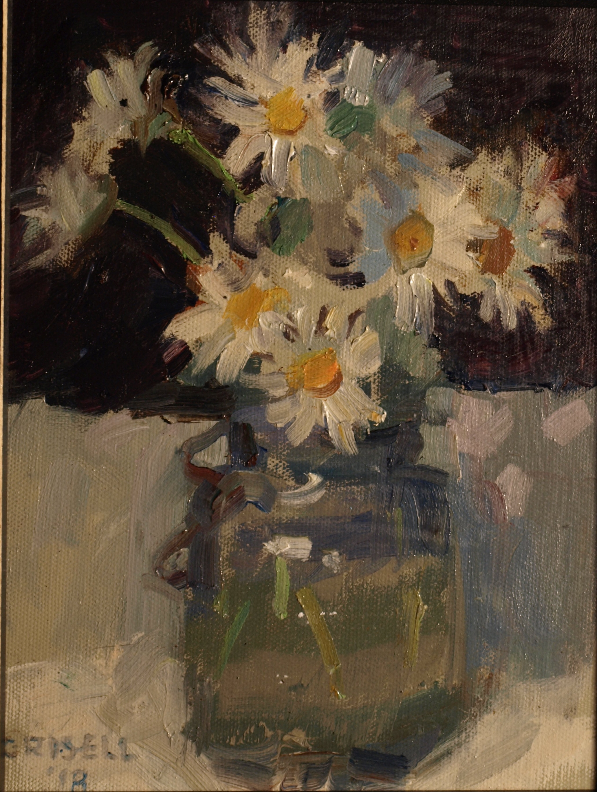 Daisies, Oil on Panel, 10 x 8 Inches, by Susan Grisell, $200