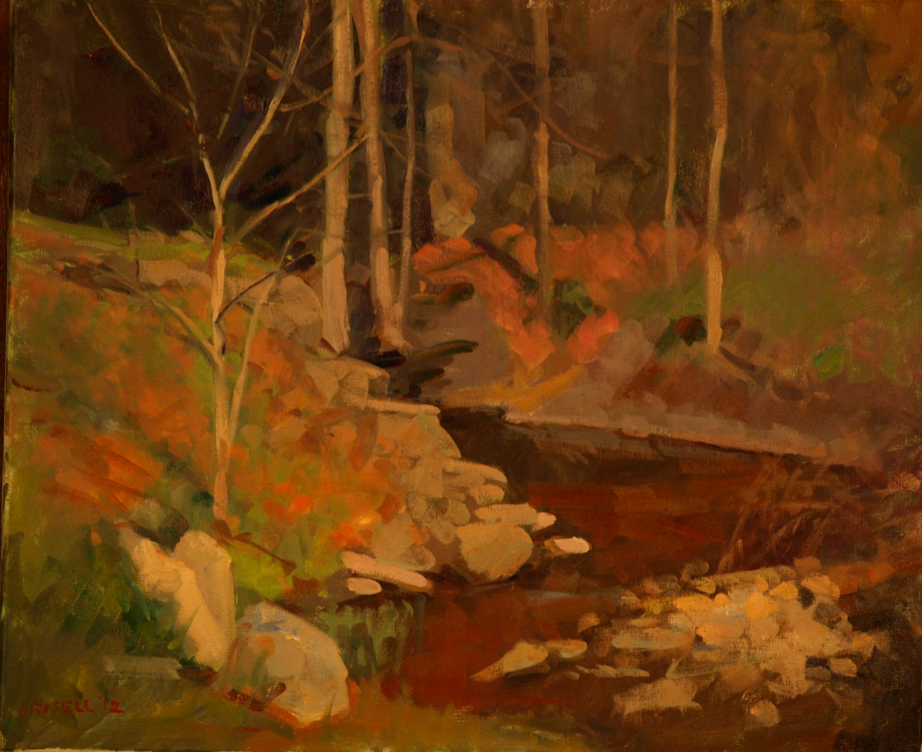 Dark Brook, Oil on Canvas, 20 x 24 Inches, by Susan Grisell, $650