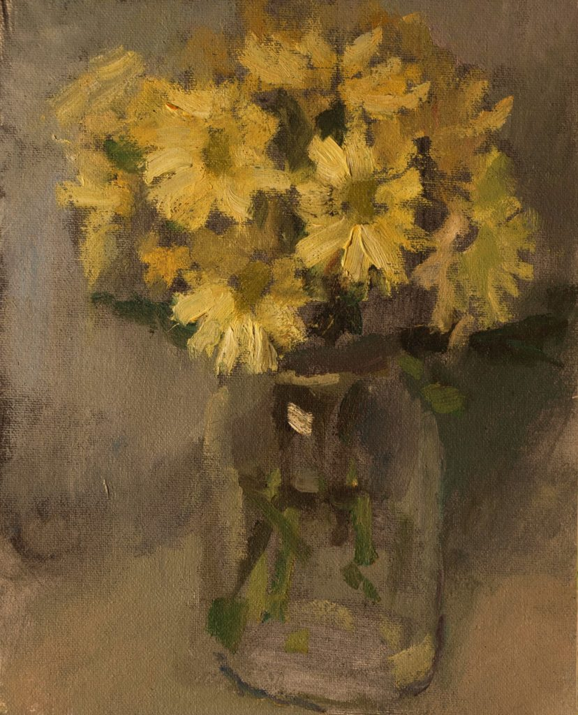 Daisies in Glass Jar, Oil on Canvas on Panel, 10 x 8 Inches, by Susan Grisell, $200