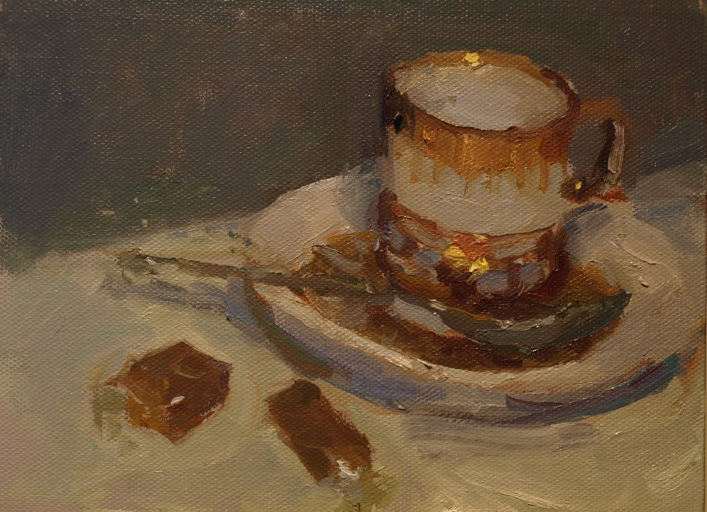 Demitasse and Caramels, Oil on Canvas on Panel, 6 x 8 Inches, by Susan Grisell, $200