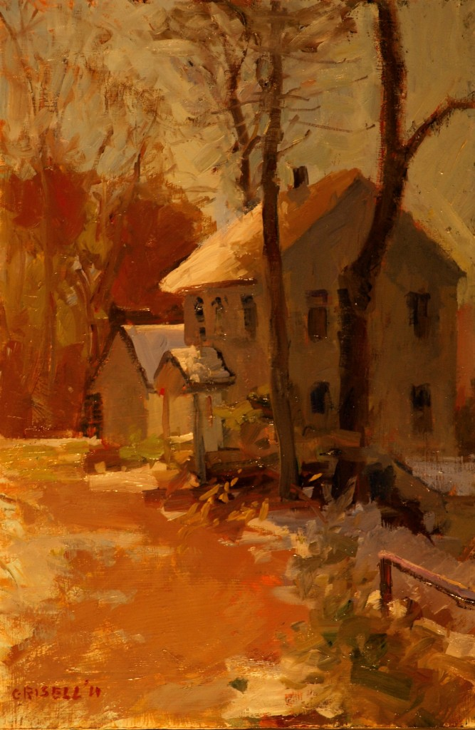 Early Snow, Oil on Panel, 18 x 12 Inches, by Susan Grisell, $275