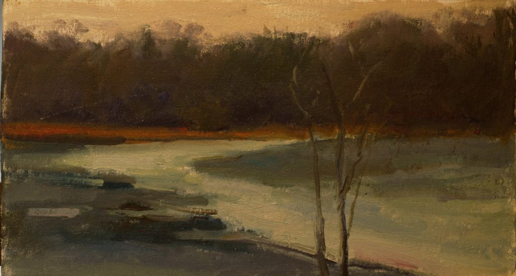 Edge of the Ice, Oil on Canvas on Panel, 9 x 16 Inches, by Susan Grisell, $250