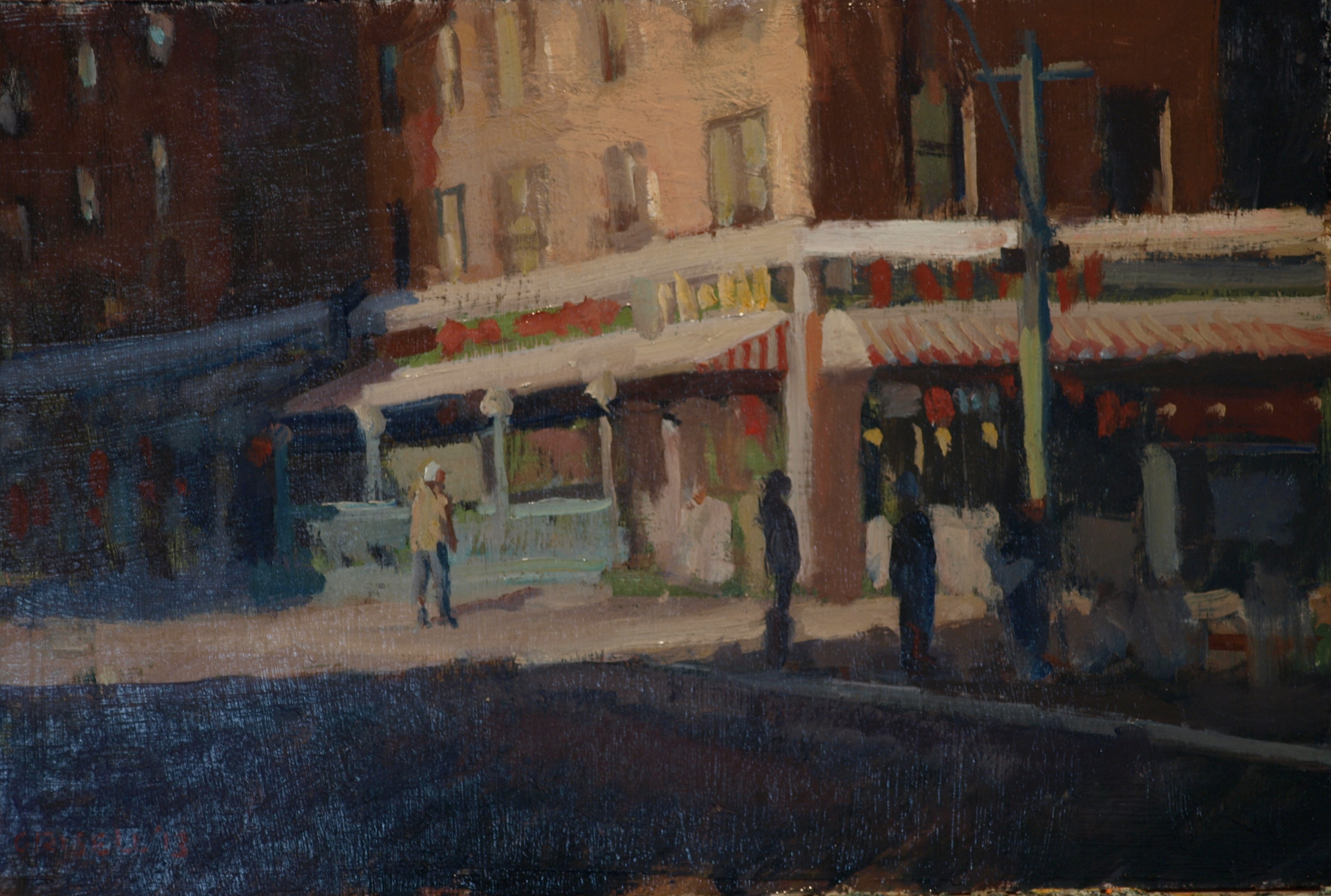Eighth Street, Oil on Panel, 12 x 18 Inches, by Susan Grisell, $275
