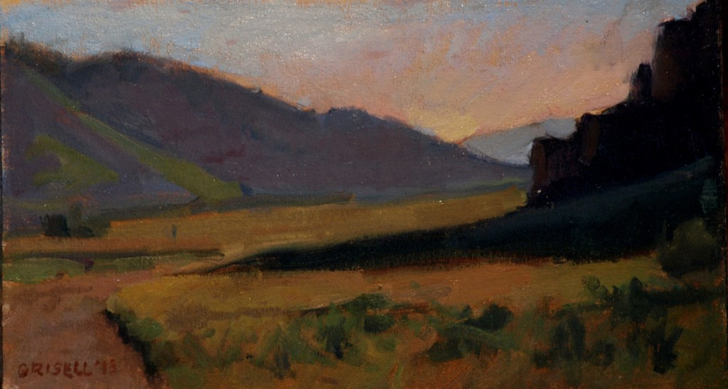 Elk Refuge -- Wyoming, Oil on Canvas on Panel, 9 x 16 Inches, by Susan Grisell, $250