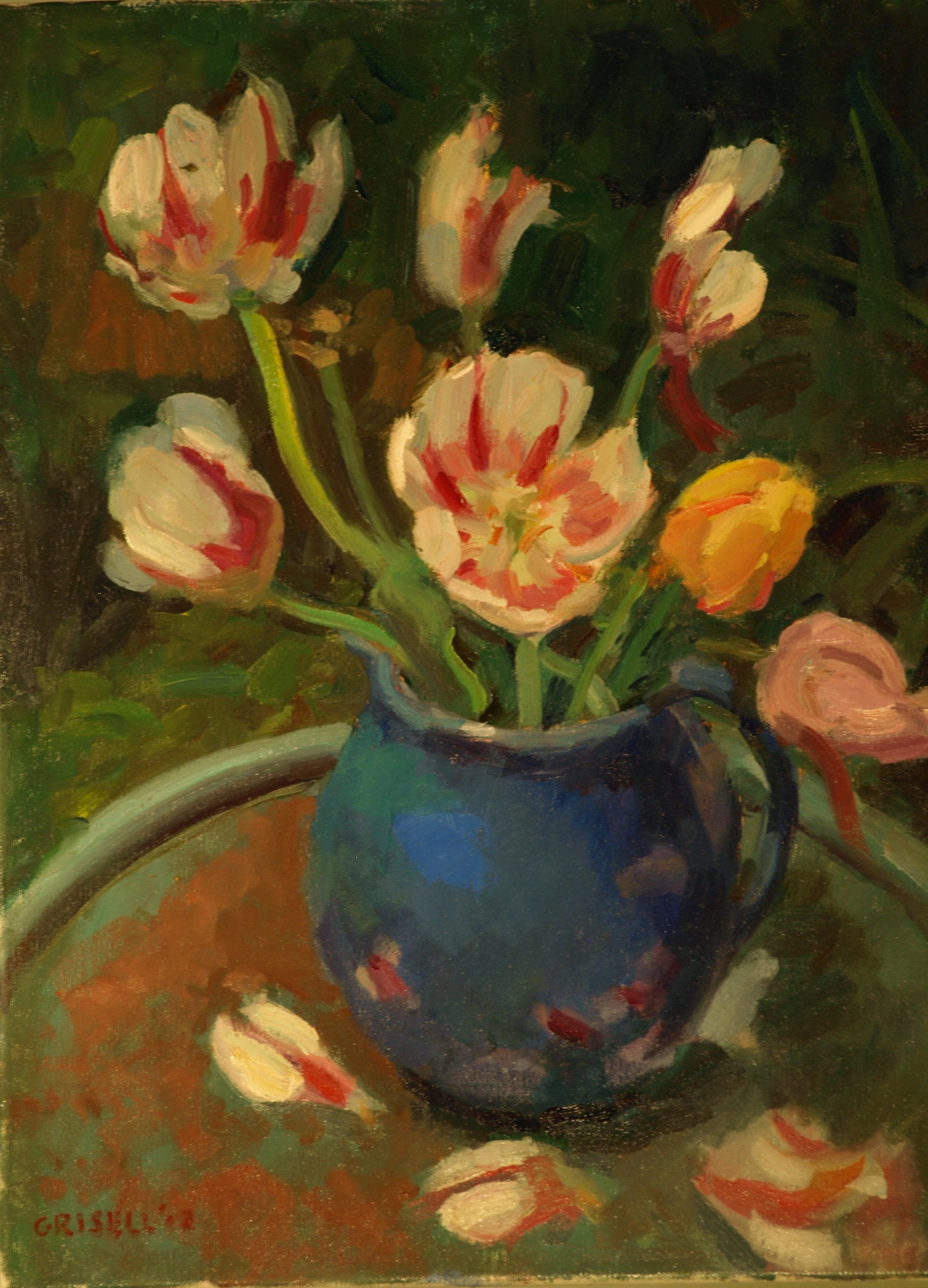 Fallen Petals, Oil on Canvas, 20 x 16 Inches, by Susan Grisell, $450