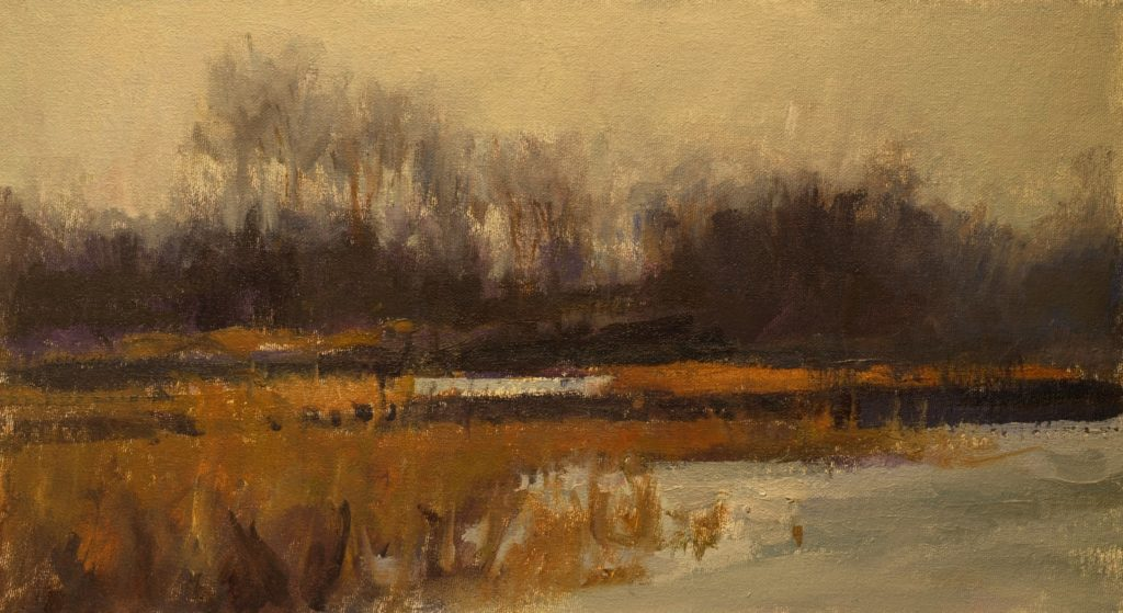February Day, Oil on Canvas on Panel, 9 x 16 Inches, by Susan Grisell, $250