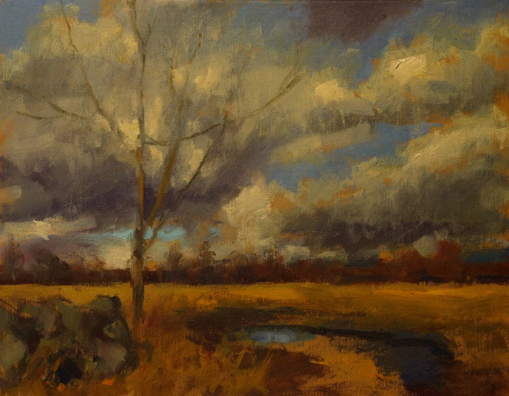 Field and Stormy Sky, Oil on Canvas on Panel, 11 x 14 Inches, by Susan Grisell, $300