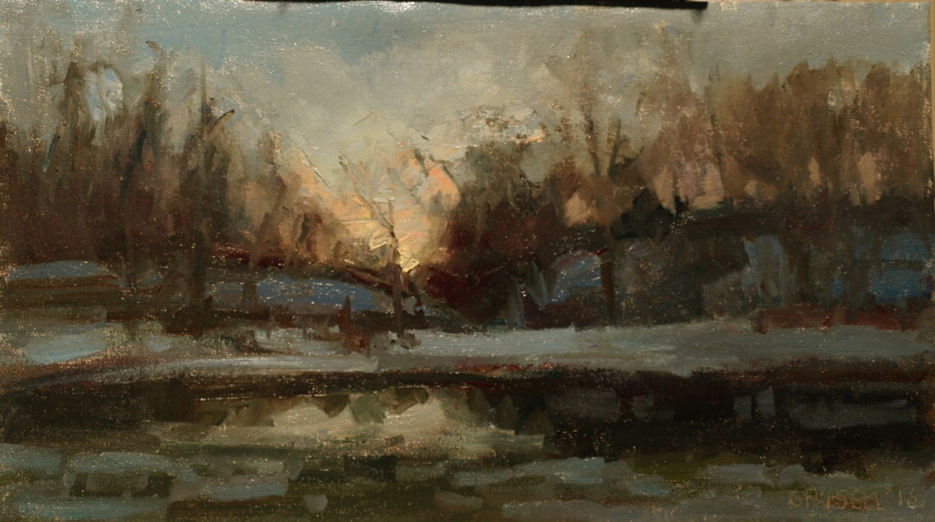 Five PM, Oil on Canvas on Panel, 9 x 16 Inches, by Susan Grisell, $275