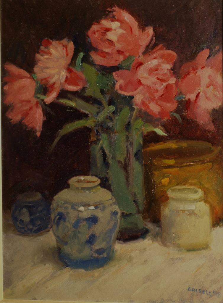 Five Peonies, Oil on Canvas, 24 x 18 Inches, by Susan Grisell, $750