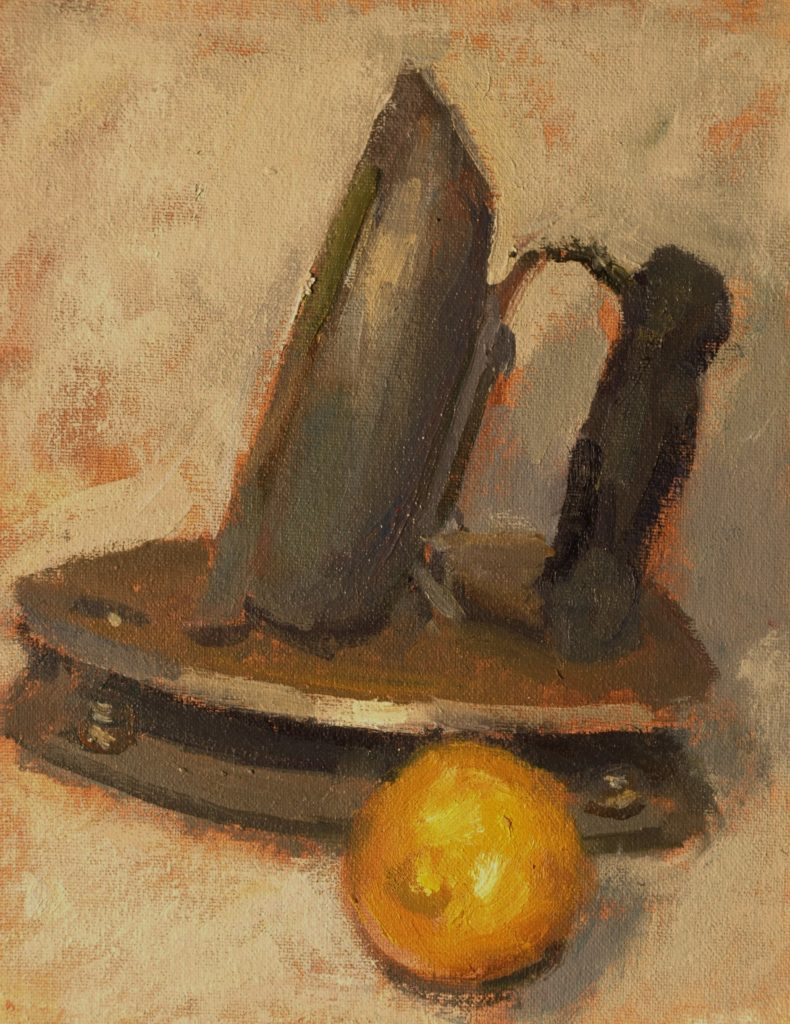 Flatiron and Lemon, Oil on Canvas on Panel, 10 x 8 Inches, by Susan Grisell, $200