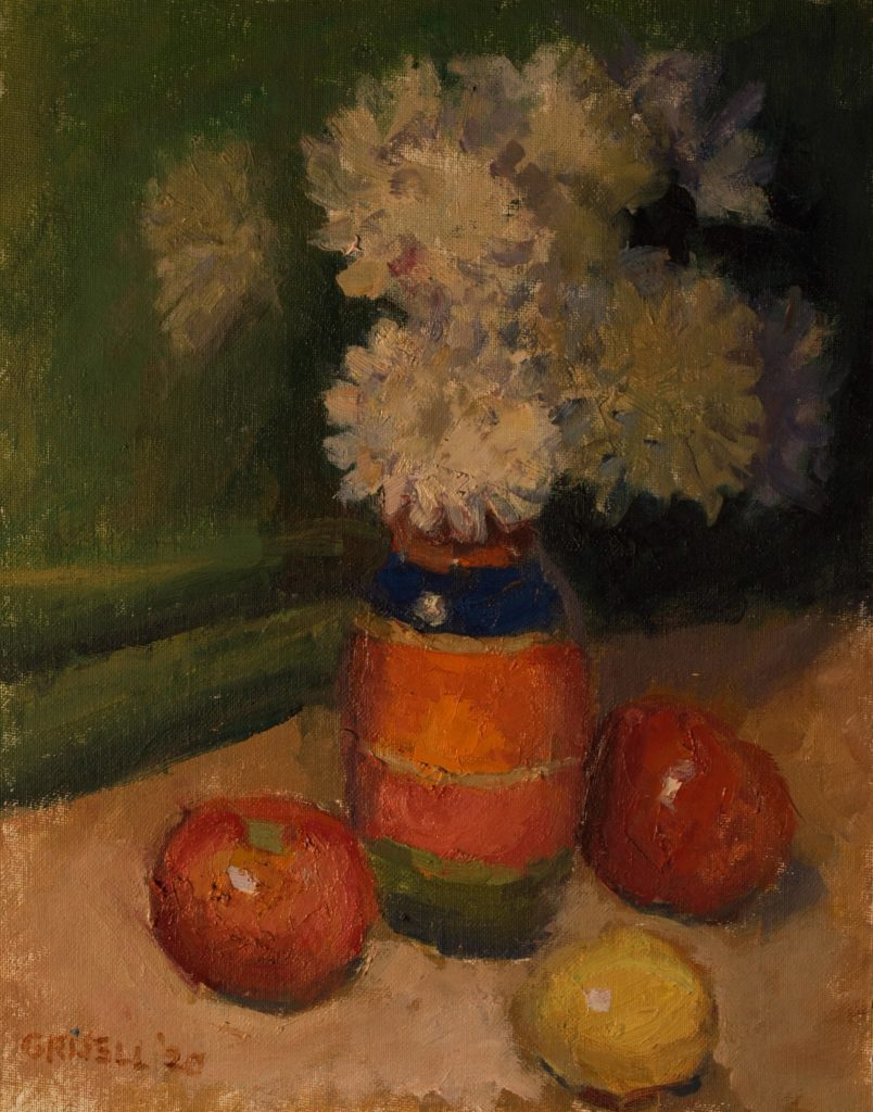 Flowers and Fruit, Oil on Canvas on Panel, 14 x 11 Inches, by Susan Grisell, $300