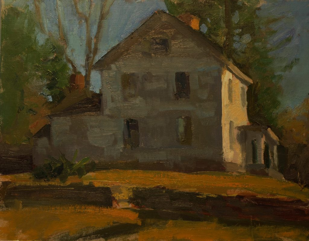 Flynn House in March, Oil on Canvas on Panel, 11 x 14 Inches, by Susan Grisell, $300