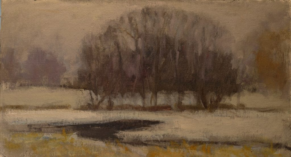 Fog, Snow and Pond, Oil on Canvas on Panel, 9 x 16 Inches, by Susan Grisell, $250