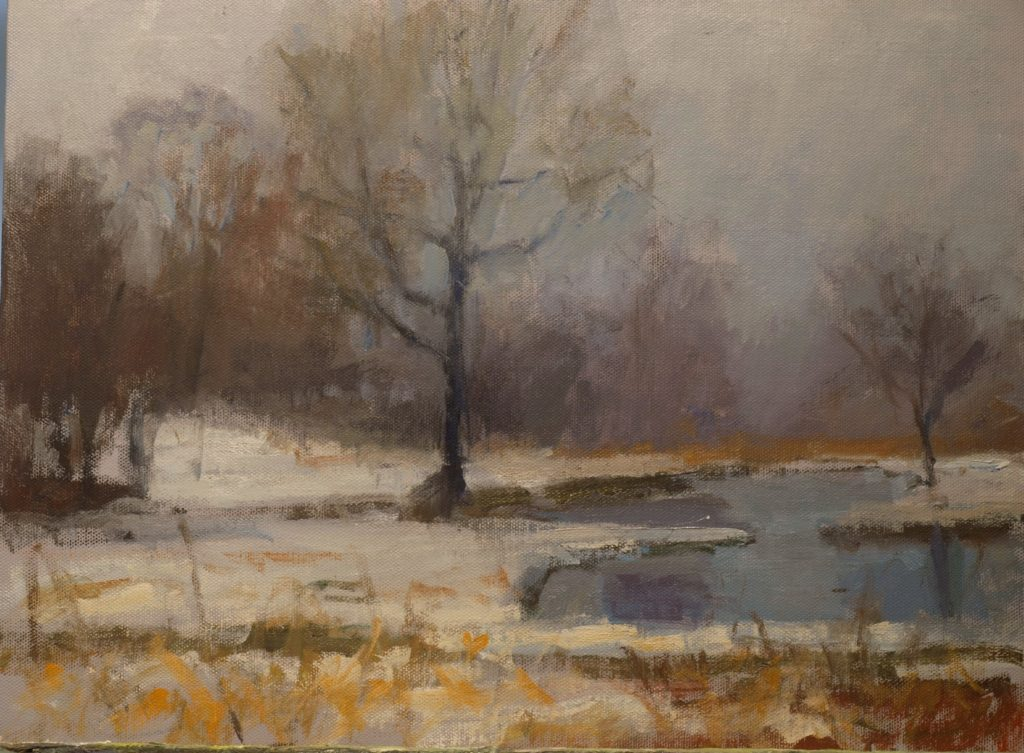 Foggy March Day, Oil on Canvas on Panel, 12 x 16 Inches, by Susan Grisell, $300