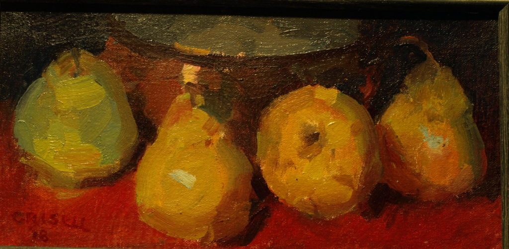 Four Pears, Oil on Canvas on Panel, 6 x 12 Inches, by Susan Grisell, $200