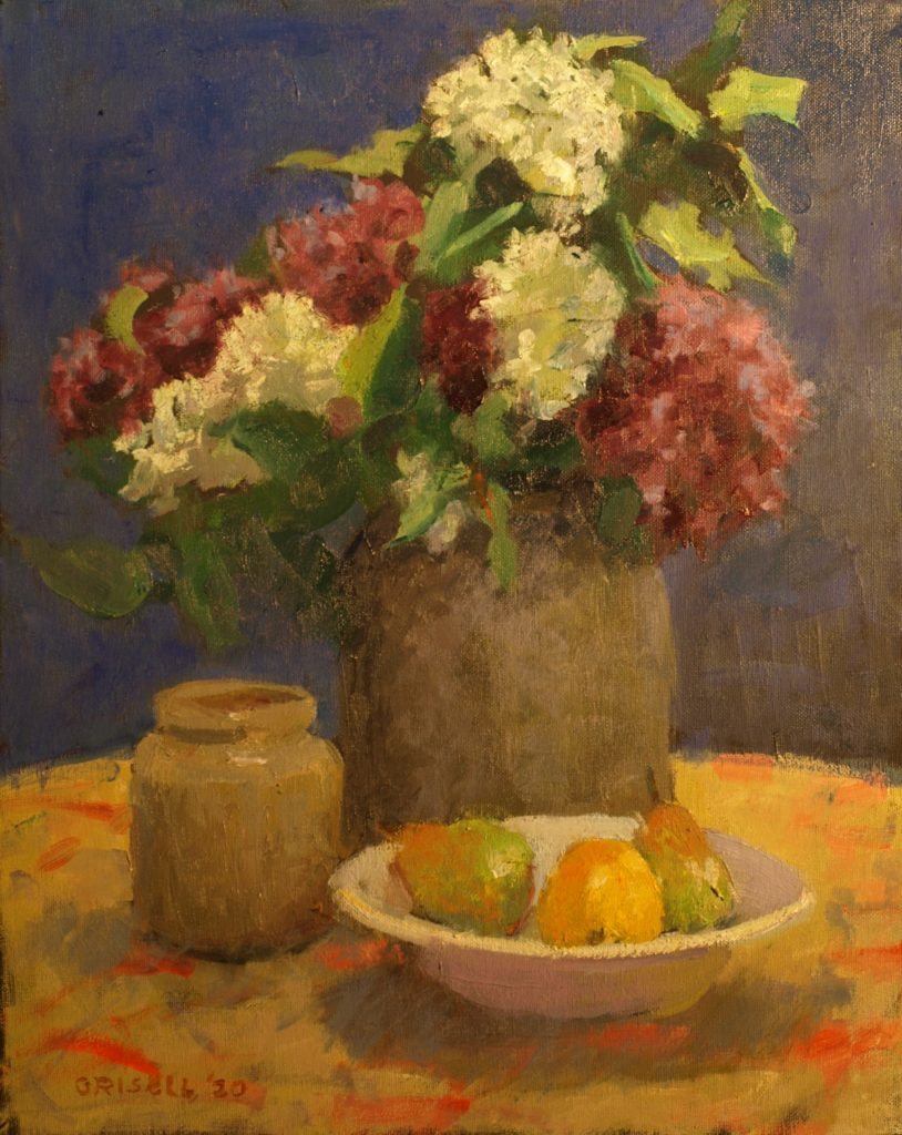 French and White Lilacs, Oil on Canvas, 20 x 16 Inches, by Susan Grisell, $750