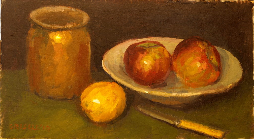 Fruit and Brass, Oil on Canvas on Panel, 9 x 16 Inches, by Susan Grisell, $275