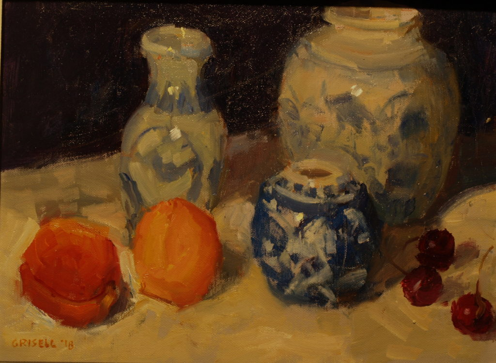 Fruit and Porcelain, Oil on Panel, 12 x 16 Inches, by Susan Grisell, $300