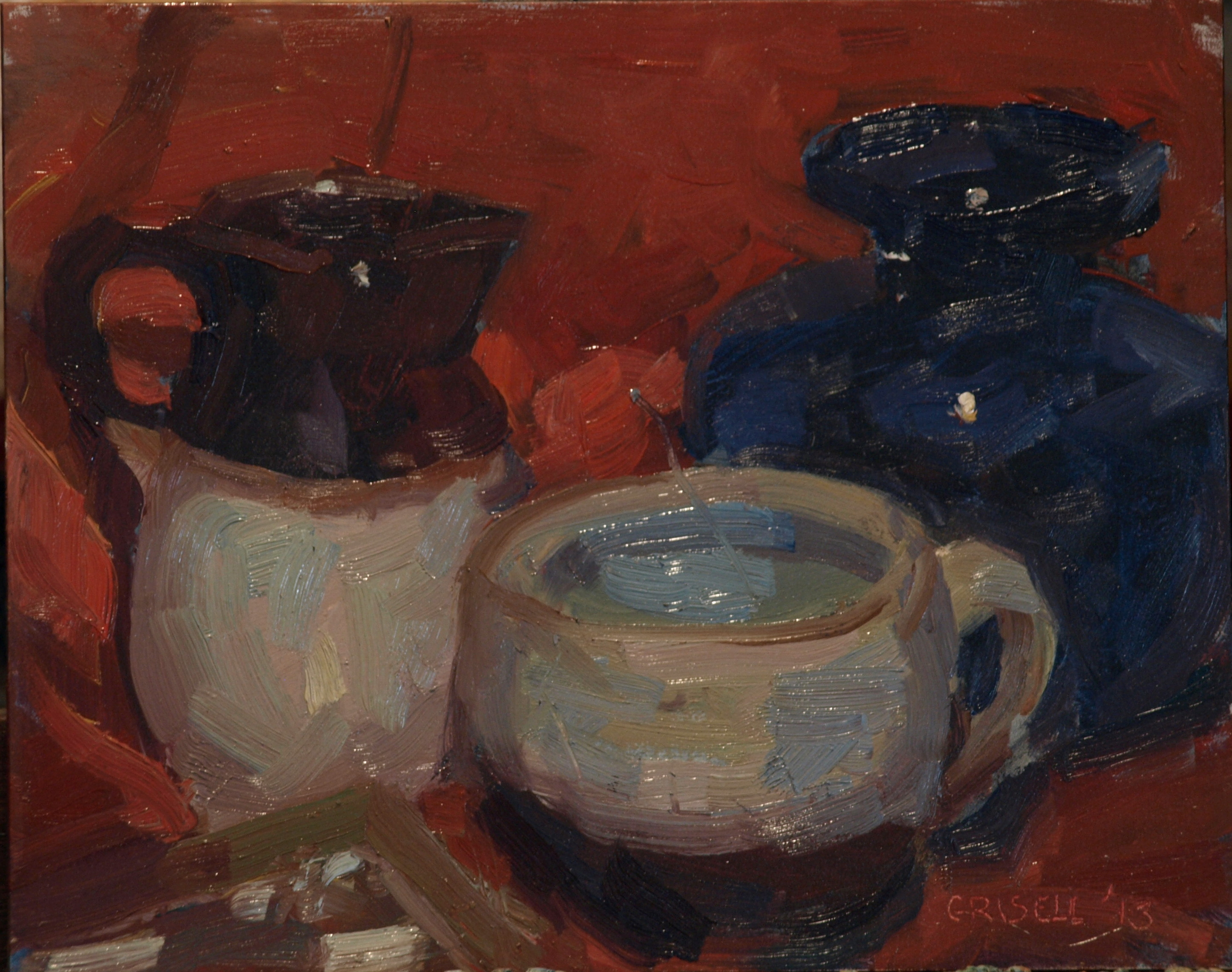 Glass and Clay, Oil on Canvas on Panel, 8 x 10 Inches, by Susan Grisell, $150