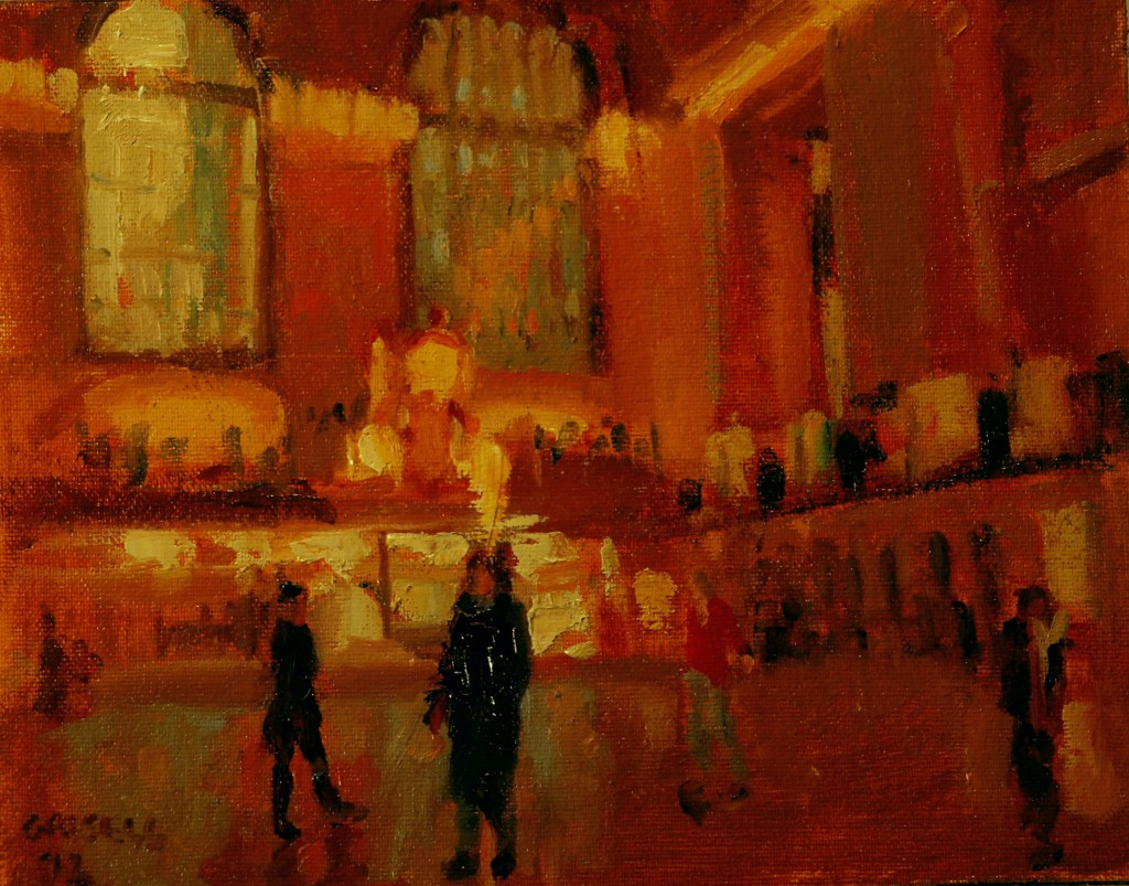 Grand Central, Oil on Canvas on Panel, 8 x 10 Inches, by Susan Grisell, $150