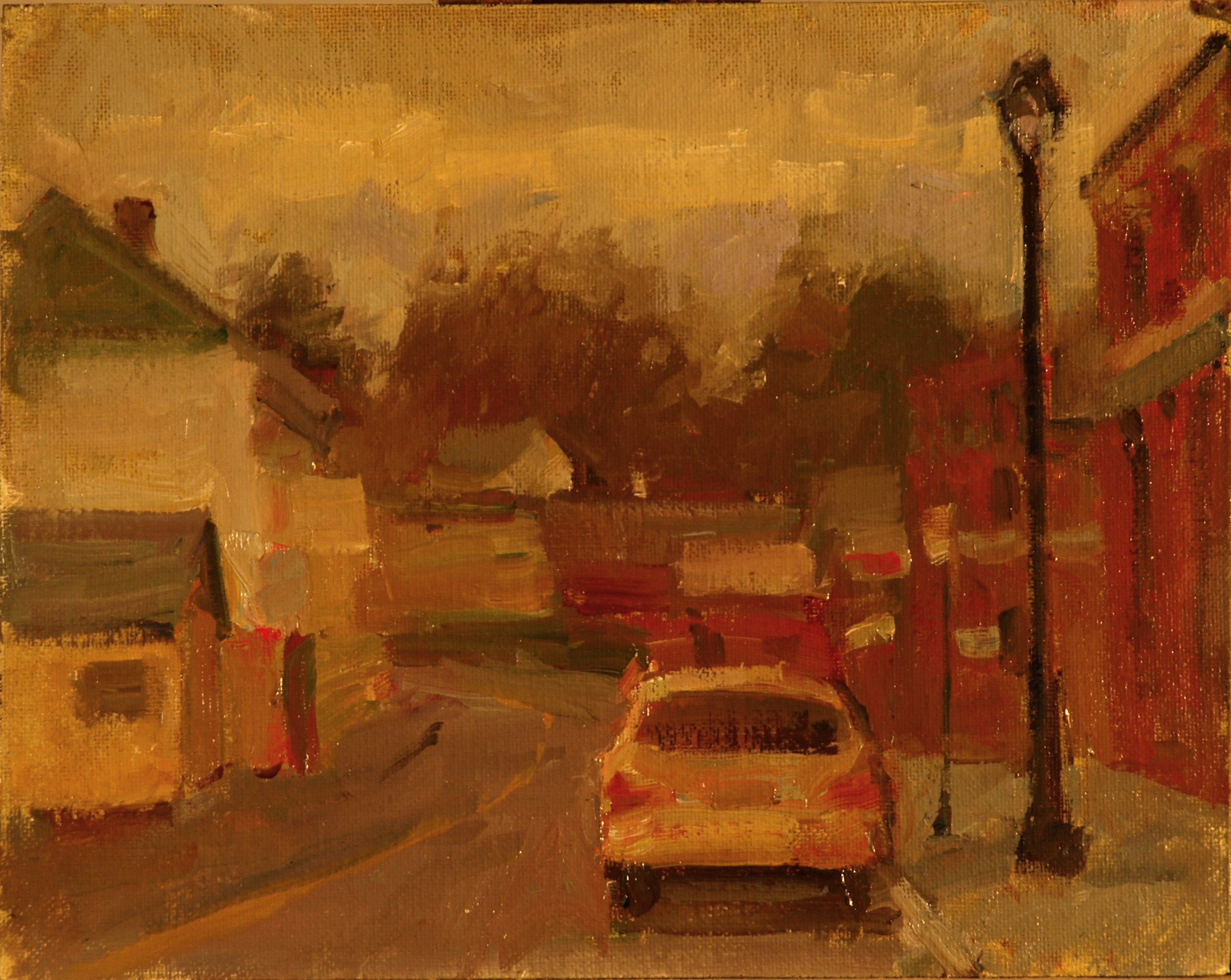 Gray Day - Railroad Street, Oil on Canvas on Panel, 8 x 10 Inches, by Susan Grisell, $150