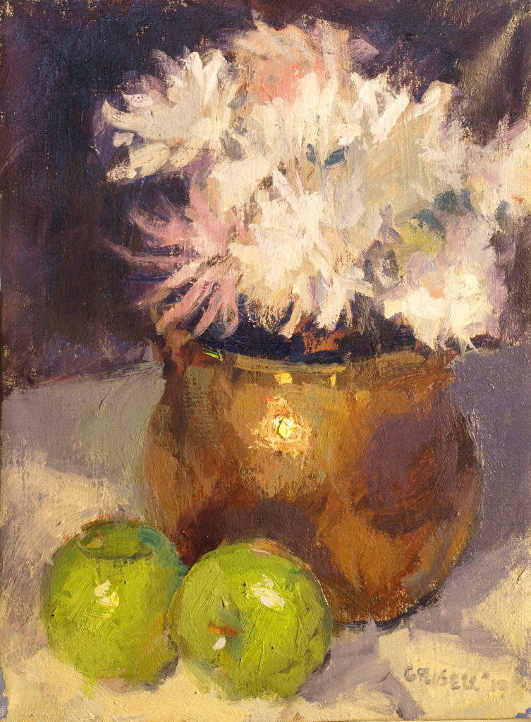 Green Apples, Oil on Canvas, 12 x 9 Inches, by Susan Grisell, $200