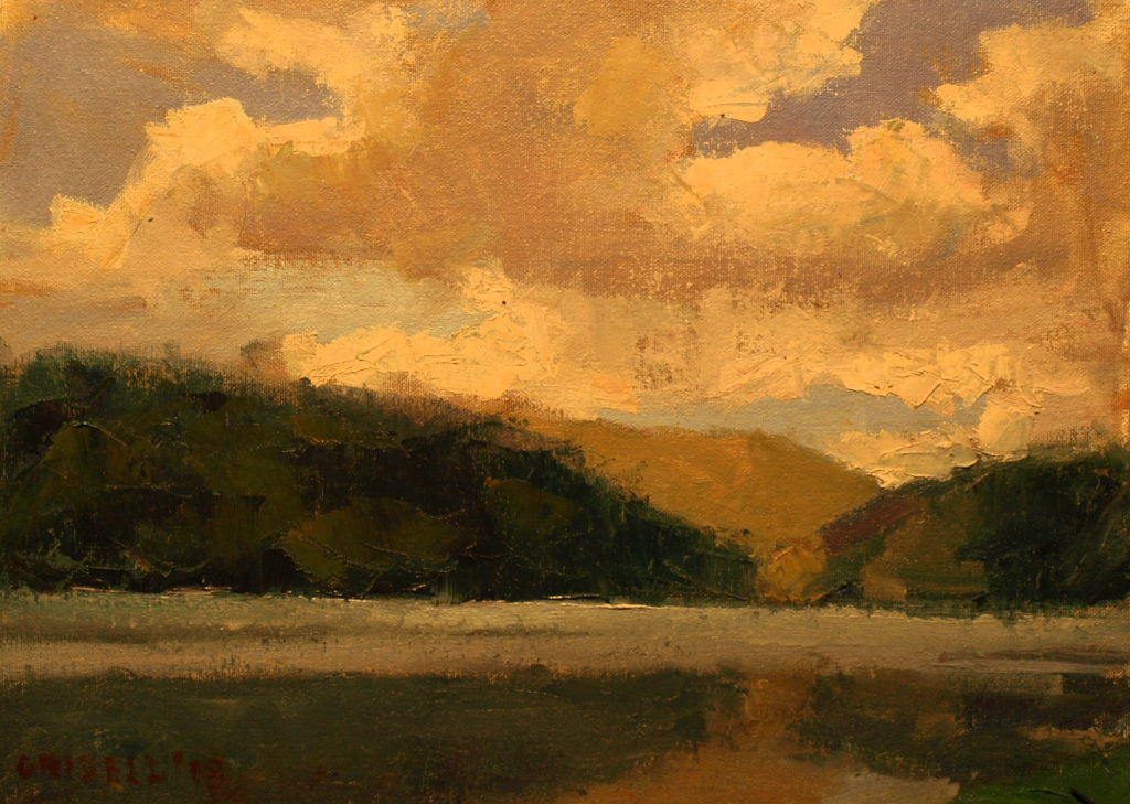 Hatch Pond and Clouds, Oil on Canvas on Panel, 12 x 16 Inches, by Susan Grisell, $300