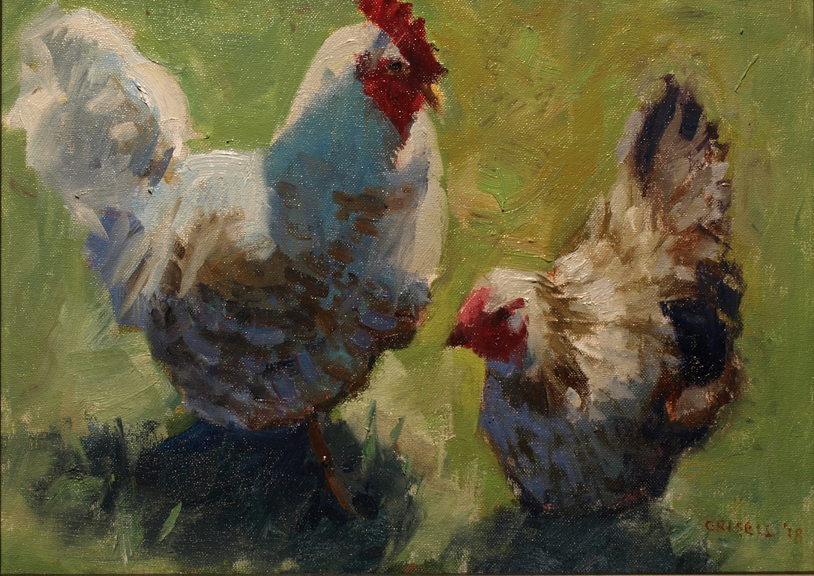 Hen and Rooster, Oil on Panel, 12 x 16 Inches, by Susan Grisell, $300