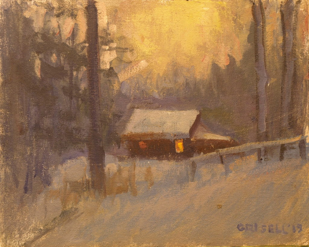 Home at Twilight, Oil on Canvas on Panel, 8 x 10 Inches, by Susan Grisell, $200