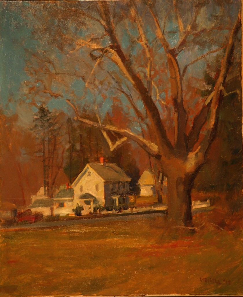 House and Sycamore, Oil on Canvas, 24 x 20 Inches, by Susan Grisell, $650