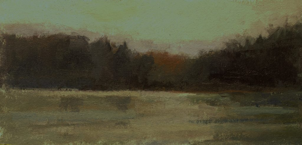 Ice on Hatch Pond, Oil on Canvas on Panel, 6 x 12 Inches, by Susan Grisell, $200