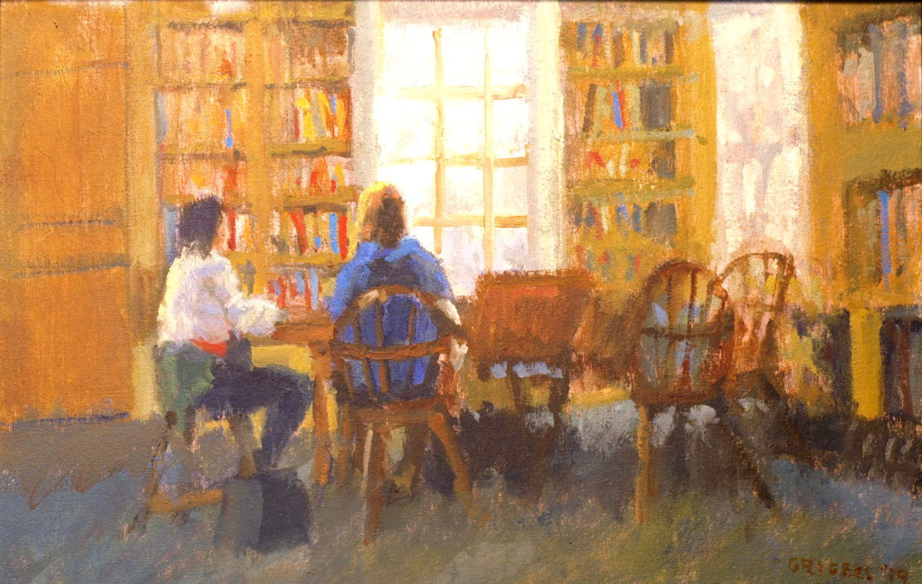 In the Library, Oil on Canvas on Panel, 12 x 18 Inches, by Susan Grisell, $300