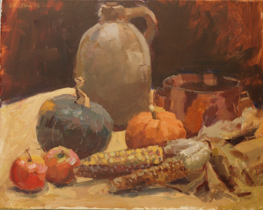 Indian corn, Oil on Canvas, 16 x 20 Inches, by Susan Grisell, $550