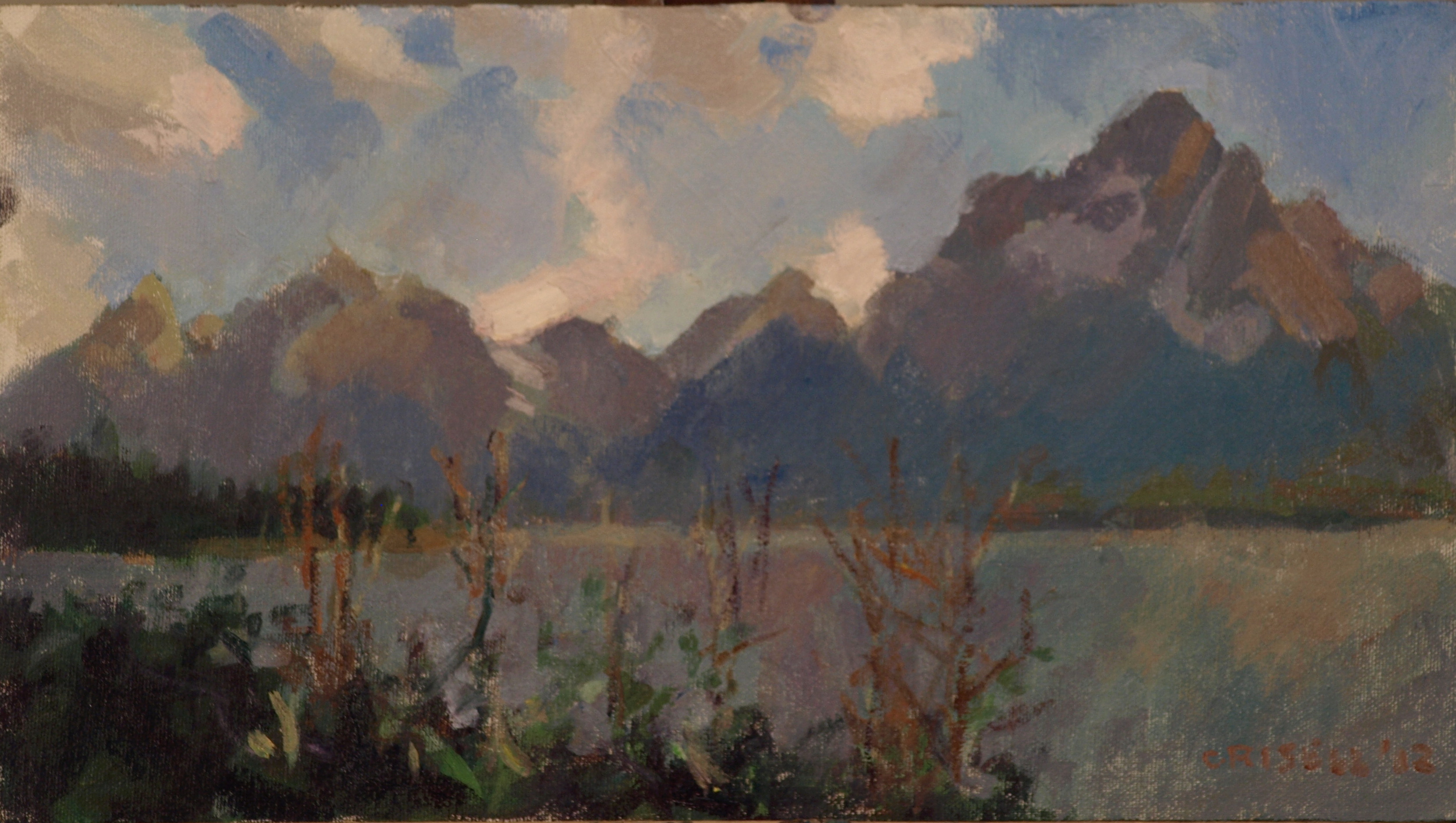 Jackson Lake, Oil on Canvas on Panel, 9 x 16 Inches, by Susan Grisell, $250