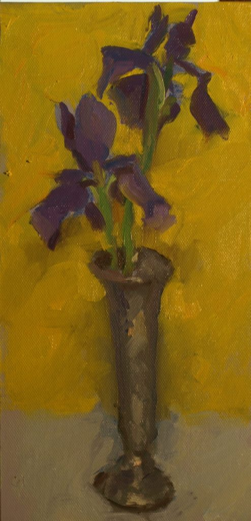 Japanese Iris, Oil on Canvas on Panel, 12 x 16 Inches, by Susan Grisell, $200