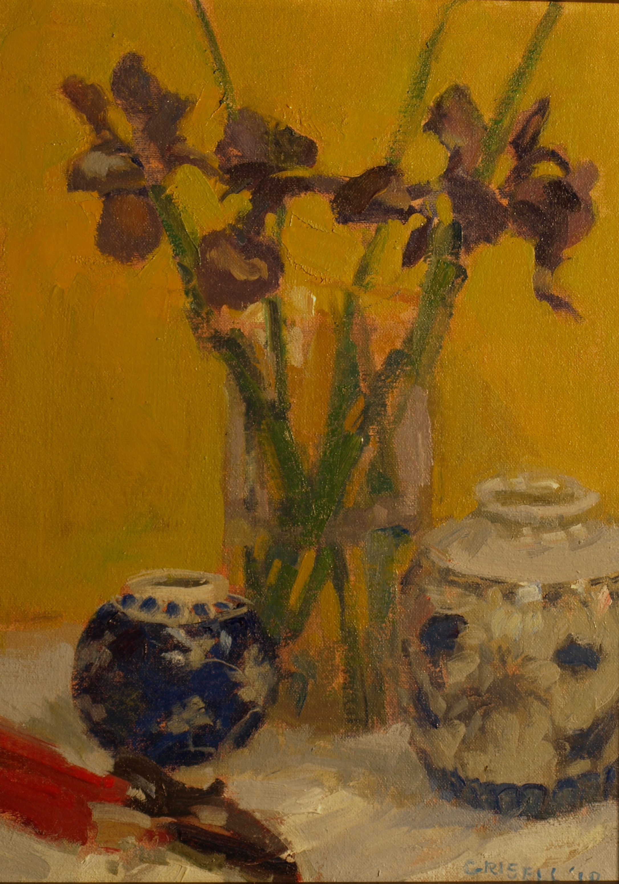 Japanese Iris, Oil on Canvas on Panel, 16 x 12 Inches, by Susan Grisell, $300