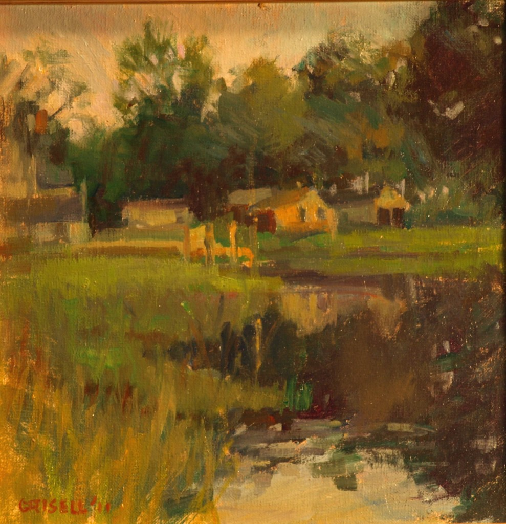 June Evening, Oil on Canvas on Panel, 12 x 12 Inches, by Susan Grisell, $250