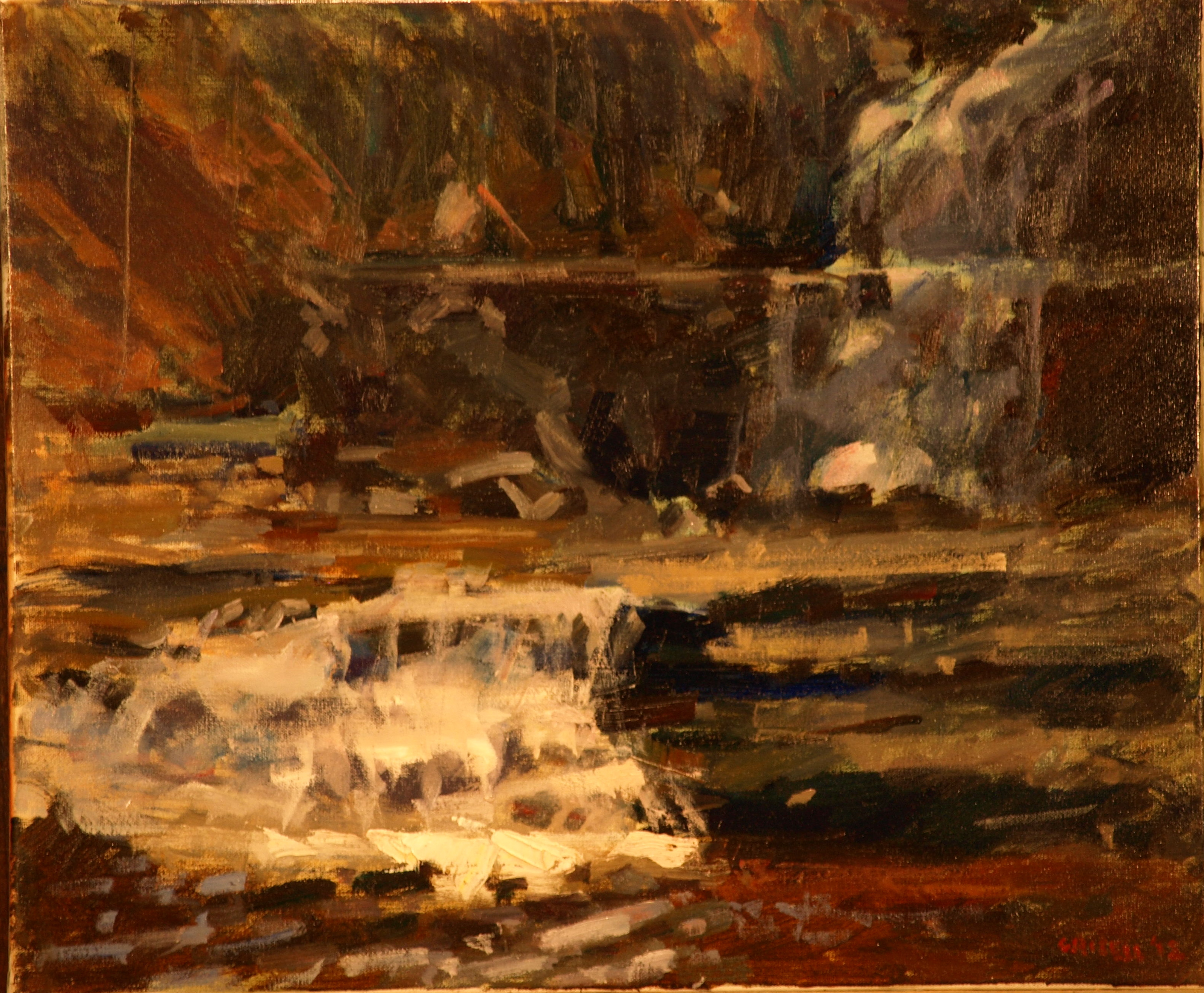 Kent Falls, Oil on Canvas, 20 x 24 Inches, by Susan Grisell, $650