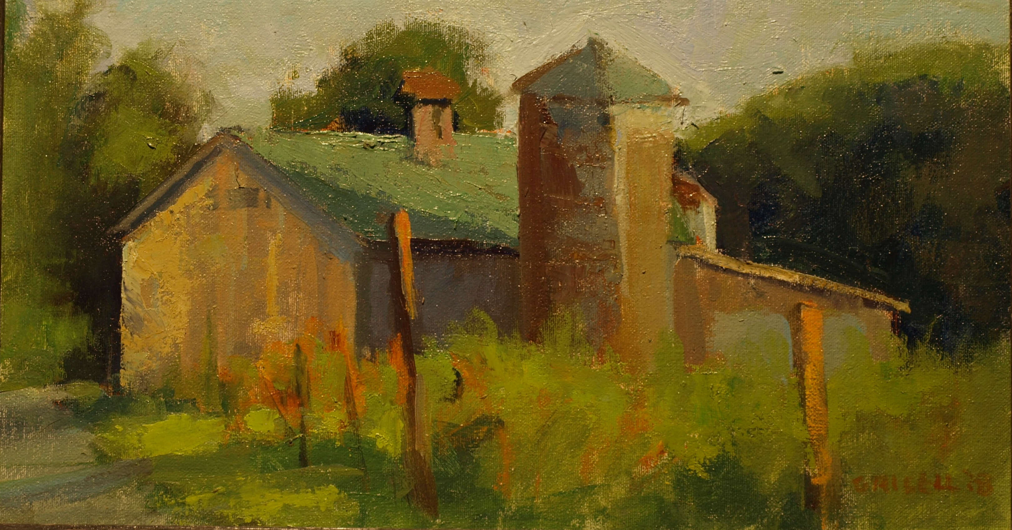 Kent Hollow Barn, Oil on Canvas on Panel, 9 x 16 Inches, by Susan Grisell, $250