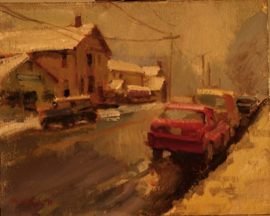 Kent in Winter, Oil on Canvas on Panel, 8 x 10 Inches, by Susan Grisell, $150