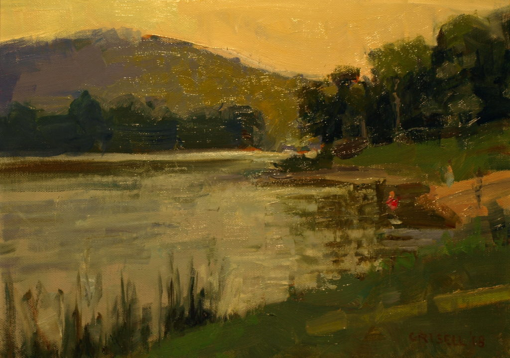 Lake in July, Oil on Panel, 12 x 16 Inches, by Susan Grisell, $300