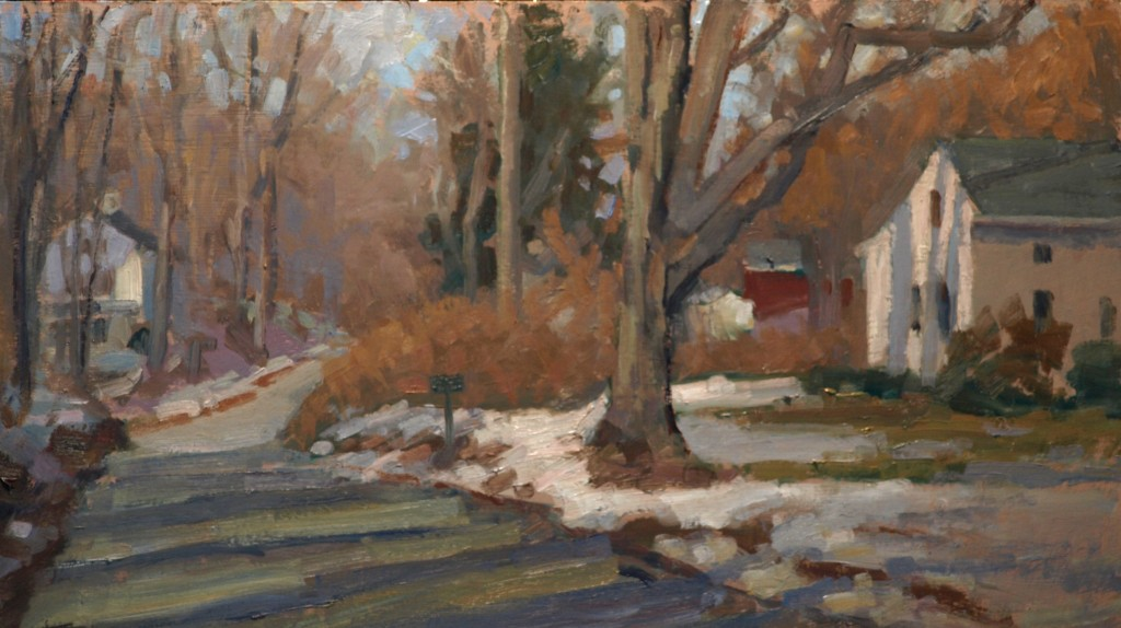 Last Snow, Oil on Panel, 14 x 24 Inches, by Susan Grisell, $500