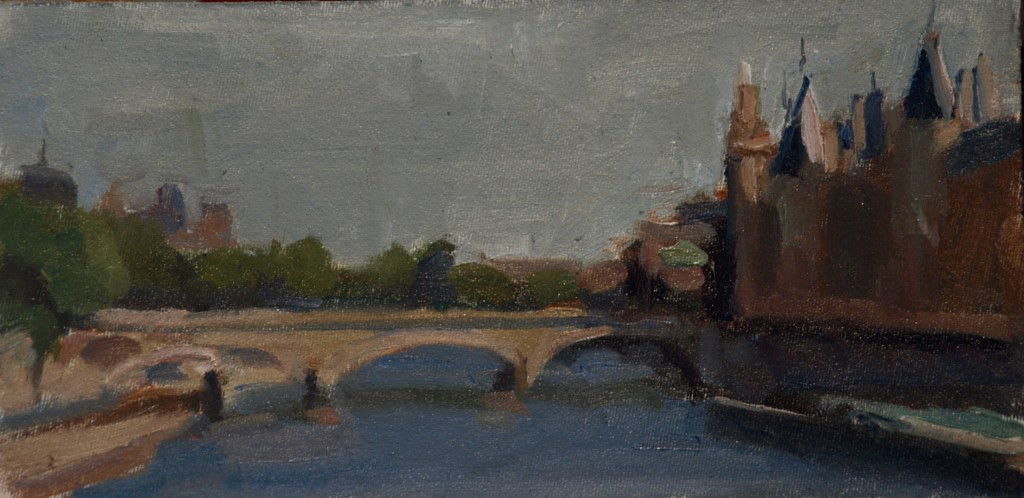 Le Pont Neuf, Oil on Canvas on Panel, 6 x 12 Inches, by Susan Grisell, $150