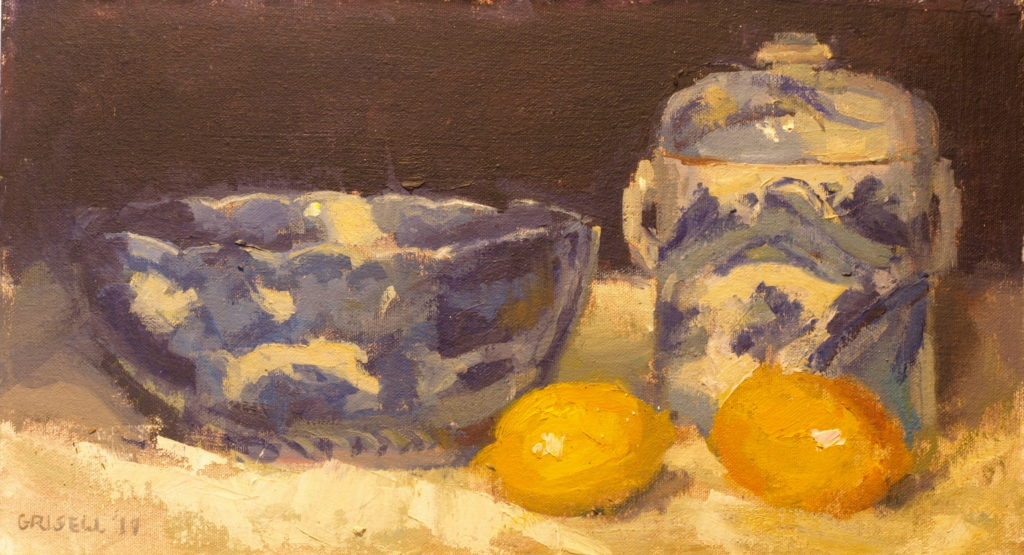 Lemons and Chinoiserie, Oil on Canvas on Panel, 9 x 16 Inches, by Susan Grisell, $275
