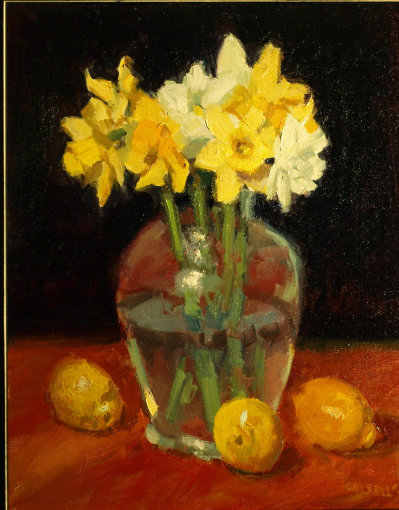 Lemons and Daffodils, Oil on Canvas, 20 x 16 Inches, by Susan Grisell, $550