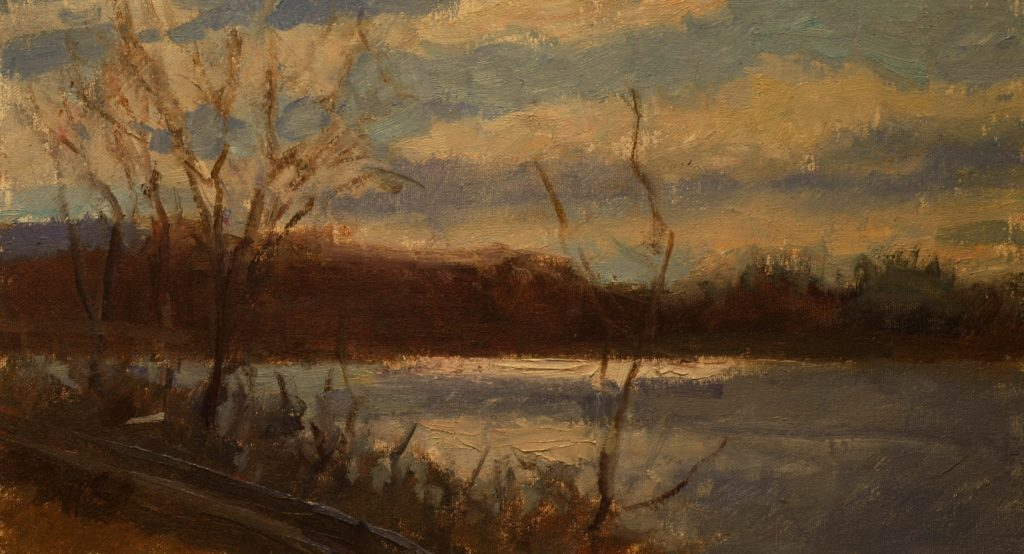 Light on Hatch Pond, Oil on Canvas on Panel, 9 x 16 Inches, by Susan Grisell, $250