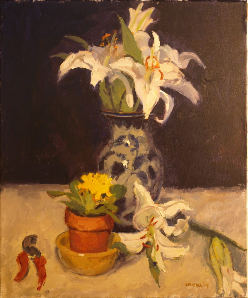 Lilies and Primorose, Oil on Canvas, 24 x 20 Inches, by Susan Grisell, $750