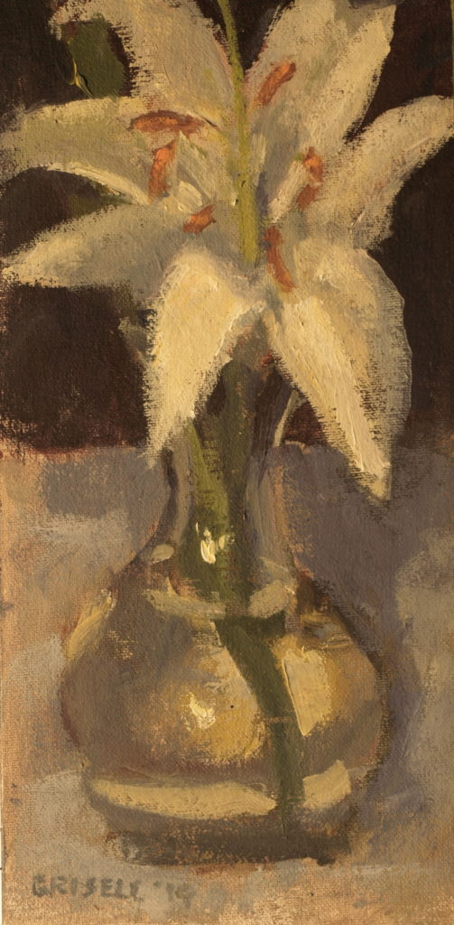 Lily in Bud Vase, Oil on Canvas on Panel, 12 x 6 Inches, by Susan Grisell, $150