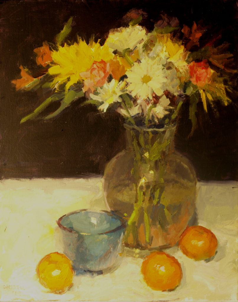 Little Blue Bowl, Oil on Canvas, 20 x 16 Inches, by Susan Grisell, $550